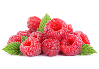 Raspberry fruit on white