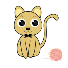 cat and toy cartoon vector illustration