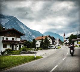 Wall Mural - Biker touring Europe