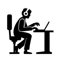 Programmer Silhouette Working on His Computer. Vector