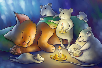 mice read book to a kitten at the night