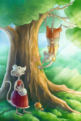 mice inlove in the forest