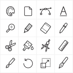 Flat Line Icons Graphic Design and Creativity Icons