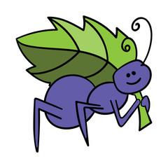 violet ant on white background vector illustration
