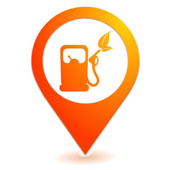 carburant naturel sur symbole localisation orange