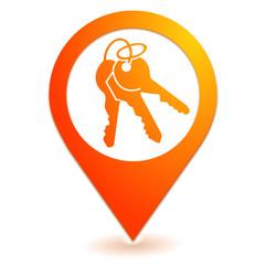 clefs sur symbole localisation orange