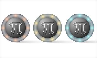 set of three icons with pi symbol
