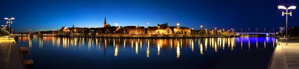 Panoramic view of Szczecin (Stettin) City at night, Poland.