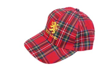 Red tartan cap with scottish arms