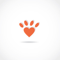 heart pet paw