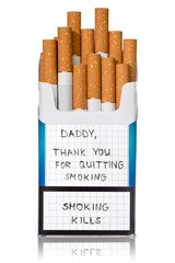 Request for quit smoking on the cigarettes pack