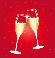 Champagne toast cups on a red starry background.