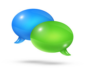 Blue and green speech bubbles