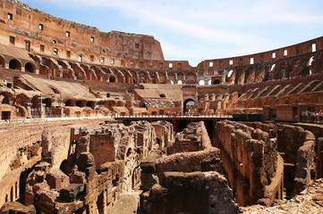 Inside of the Colosseum in Rome, Italy