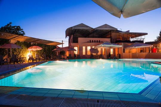 Modern house  swimming pool night
