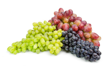 Ripe green and purple grapes isolated on white