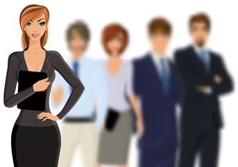 Busines woman with business team