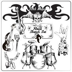 Rock music sketch set