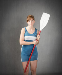 sportive girl ready for regatta