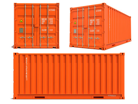 Orange Container in 3D Isolated on White.