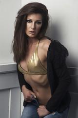 Sexy brunette woman beautiful lady in lingerie