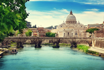Poster Rome view on Tiber and St Peter Basilica in Vatican