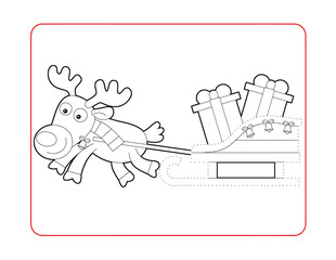 Christmas exercise - coloring page for children