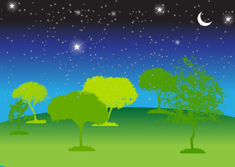 Abstract Silhouette Tree. Vector Illustration.