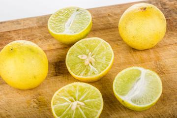 group of lemon isolated on wood