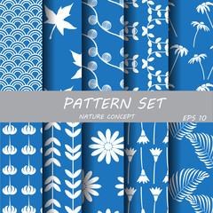 silver blue classic nature pattern set