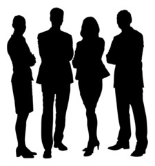 Silhouette Business People Standing With Arms Crossed