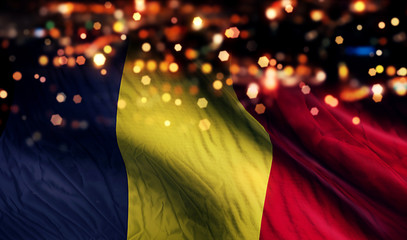 Romania National Flag Light Night Bokeh Abstract Background
