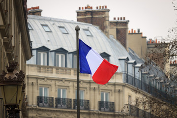 French flag front of ancient building