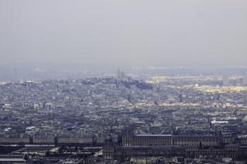 Louvre, Basilica Sacre Coeur  in morning fog