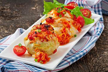 Squash stuffed with vegetables and meat