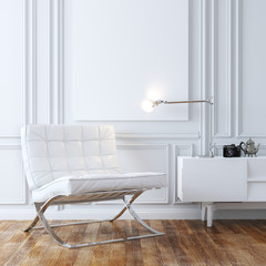 Stylish White Leather Armchair In Classic Interior Design