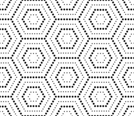 Hexagons texture with dots. Seamless vector geometric pattern