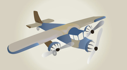 Vector Retro Airplane. Vintage Illustration of a Plane