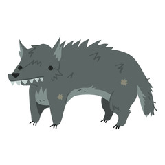 Funny cartoon wolf illustration mascot.