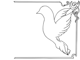 frame, design, doodle , dove