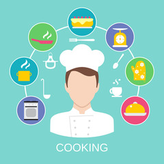 Cooking concept poster print