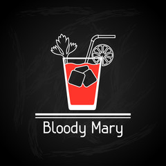Illustration with glass of bloody mary for menu cover.