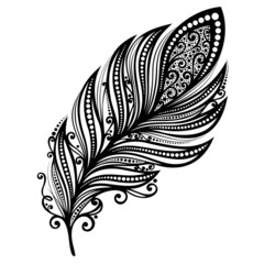 Peerless Decorative Feather (Vector), Patterned design, Tattoo
