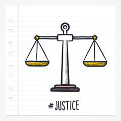 Vector doodle justice scale icon illustration with color