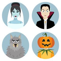 Halloween character set. Vampire, werewolf, dead bride, Jack-o-