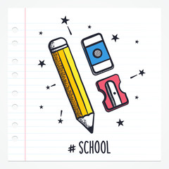 Vector doodle pencil, rubber icon illustration with color