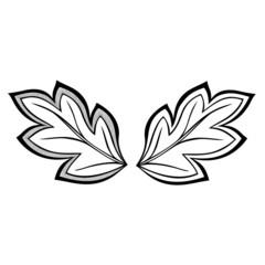 Original Decorative Leaf with Ornament (Vector), Patterned desig