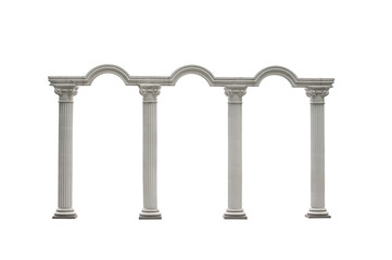 Roman columns gate isolated on white with Clipping Path