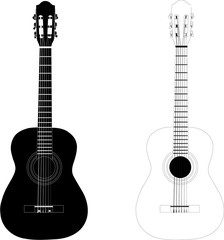 classic guitar black & white vectorized illustration