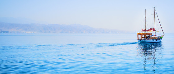 leaving a yacht in the bay of Eilat